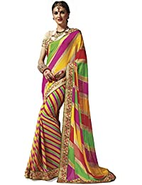 Shangrila Designer Women's Georgette Embroidered Saree With Blouse Piece (LHRY3-5262_Multicolour_Free Size)