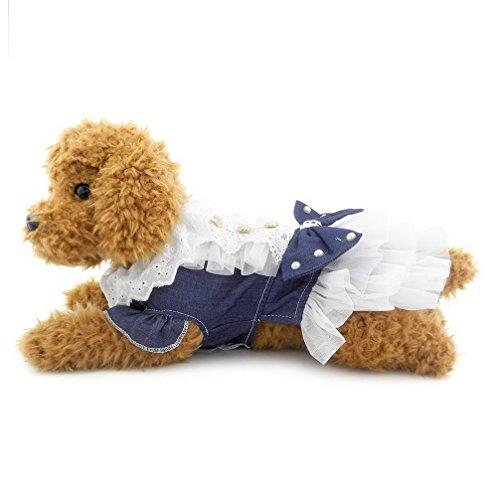 ranphy Kleine Hunde/Katzen Denim Kleid Schleife Princess Tutu Haustier Kleidung Puppy apprael Palace Aristokraten - Tutu Couture Kostüm