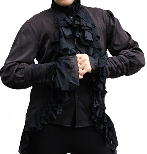 Männer Burlesque Kostüme (Rüschen Hemd Langarm Gothic Lolita V Kei RQ-BL Lolita Barock Schwarz)
