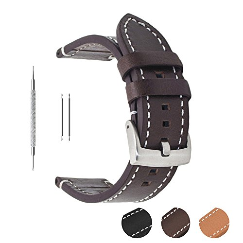 Correa de reloj de piel auténtica extrasuave de Berfine, recambio unisex, color negro, 18 mm, 20 mm, 22 mm, marrón oscuro, 22 mm