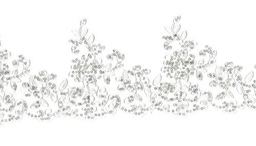 Craftuneed Vestido tul lentejuelas blancas florales