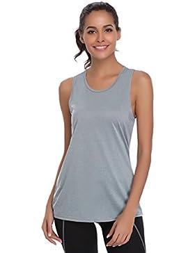 Haijiate Camiseta Mujer Deporte sin Mangas para Yoga Fitness y Deportes