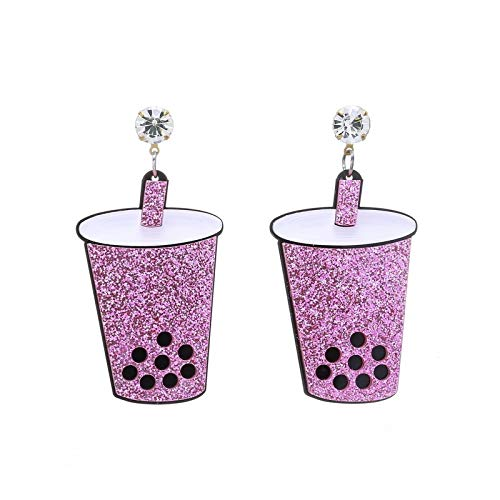Allgemeiner Zweck Rosa acryl trinkbecher Ohrringe mädchen kreative einzigartige Ohrringe schmuck -