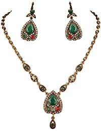 Futaba Green Stone Pendant Tibetan Jewellery Earring And Necklace Set
