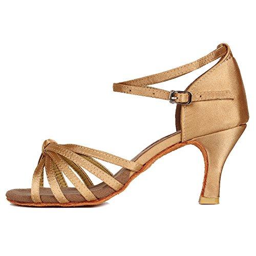 YKXLM Mujeres&Niña Zapatos latinos de baile Zapatillas de baile de salón Salsa Performance Calzado de Danza,ES217-7,Beige color,EU 38