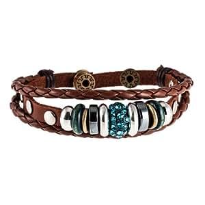 Morella Damen Lederarmband braun geflochten mit Nieten + Beads und türkisen Zirkoniasteinen