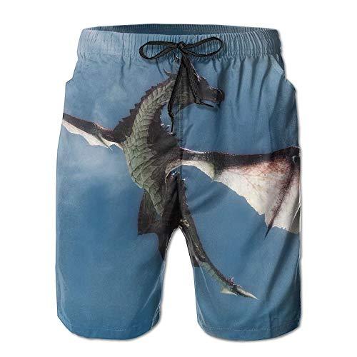 Cool Flying Dragon Herren/Jungen Casual Badehose Kurze Strandhose mit elastischer Taille und Taschen,XXL