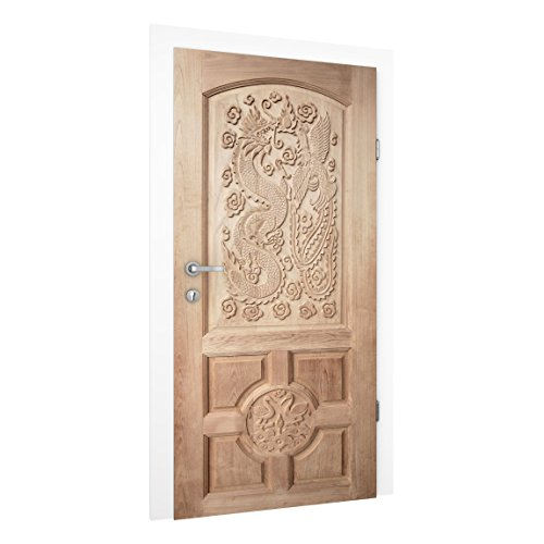 Vliestapete Tür - Geschnitzte asiatische Holztür aus Thailand - Türtapete , Größe HxB: 215cm x 96cm