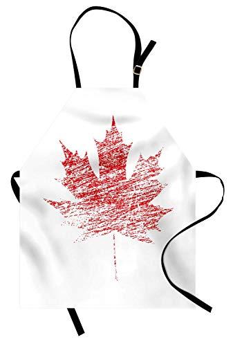 Kanada-Schürze, Ahornblatt-Blatt mit Schmutzeffekt Kanadisches nationales Symbol im gealterten Blick Schmutz, Unisexküchen-Latzschürze mit justierbarem Hals für das Kochen backende Gartenarbeit, ()