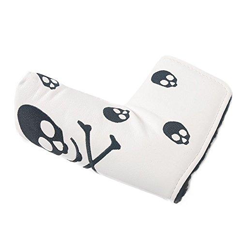 Schlägerkopfhülle von Beehive für Putter, Design: Totenkopf, geeignet für alle Marken: Titleist, Scotty, Cameron, Ping, TaylorMade, Callaway, weiß 2