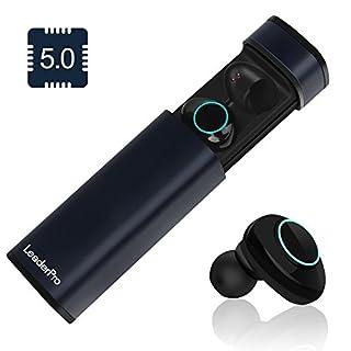 LeaderPro Mini Bluetooth Kopfhörer in Ear Kabellos TWS 5.0 CVC 6.0 Stereo mit Mic Touch Steuerung 600mah Bluetooth Earbuds Ohrhörer für Android, iOS und PC mit Ladestation (Dunkelblau)