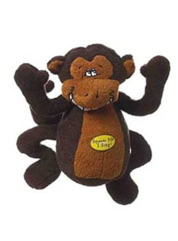 Multipet Deedle Dude 8-Inch Singing Monkey Plush Dog Toy, Brown