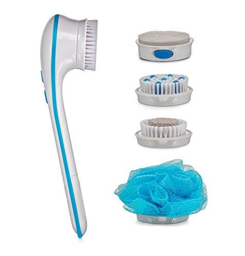 Spazzola rotante spin spa con 5 accessori intercambiabili per corpo doccia waterproof - massaggiante, detergente, esfoliante, pedicure, micro dermoabrasione