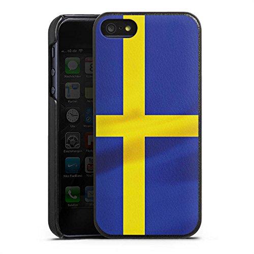 Apple iPhone 5 Lederhülle Leder Case Leder Handyhülle Schweden Flagge Sweden Leder Case schwarz