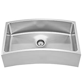 Whitehaus Haus Series 31 5/8 Inch Single Bowl Front Apron/Undermount Sink With A Curved Design Brushed Stainless Steel