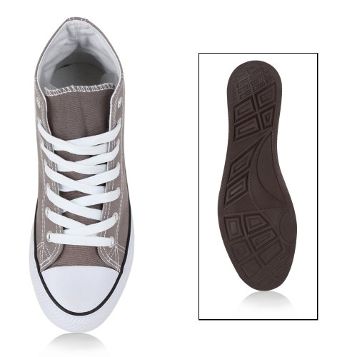 Trendy Damen Sneakers   Sportliche Sneaker High   Stoffschuhe Camouflage   Animal Print Muster Sportschuhe Grau