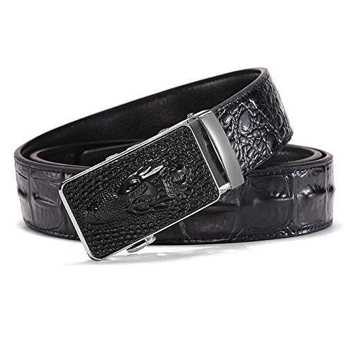 Seayahy Cinturón de Vestir de Negocios para Hombres Cinturón de Piel de cocodrilo con Hebilla automática Longitud del cinturón de 125 cm, Cinturón de Cuero con patrón de cocodrilo para Hombre