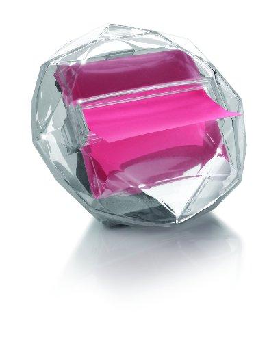 Post-it DI-330 Z-Notes Spender Diamant (inkl. 1 Block Z-Notes á 100 Blatt, neonpink, 76 x 76 mm) transparent