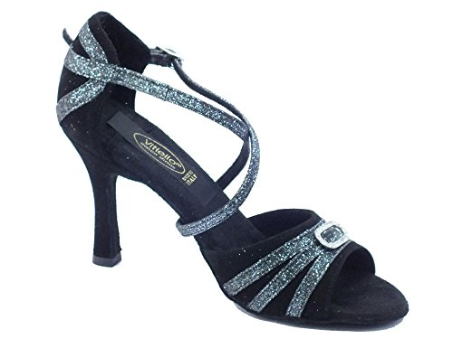 Vitiello Dance Shoes  479 Camoscio Night Latino, Damen Tanzschuhe Schwarz