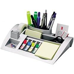 3M Post-it C50 - Organizador de escritorio - Incluye 1 bloc de notas, 4 x 35 Marcadores Index y 1 cinta adhesiva Scotch Magic - Dispensador de notas - Portalápices - color plateado