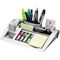 3M Post-it C50 - Organizador de escritorio – Incluye 1 bloc de notas, 4 x 35 Marcadores Index y 1 cinta adhesiva Scotch Magic – Dispensador de notas – Portalápices – color plateado