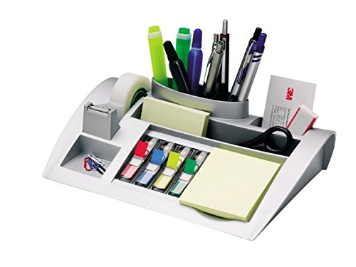 Post-it c50 organizer da scrivania con post-it notes, segnapagina post-it index e nastro scotch magic 810 / portaoggetti scrivania con accessori / dimensioni 26,5 cm x 16,8 cm x 6,8 cm, colore argento