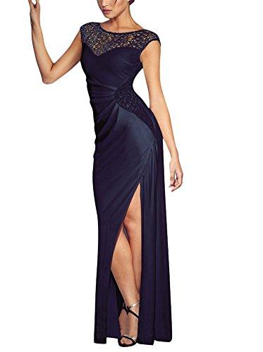 Brinny Sexy Élégante Dentelle mesh Plissée Divisé Robe Maxi Col Ronde Slim Femme Longue Robe de Soirée de Cocktail / de Mariée Noir / Belu / Rouge Bleu