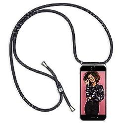 ZhinkArts Handykette kompatibel mit Apple iPhone 6 / 6S - Smartphone Necklace Hülle mit Band - Schnur mit Case zum umhängen in Schwarz