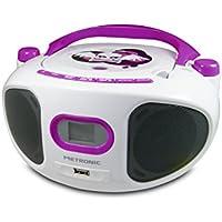 Metronic 477122 Radio/Lecteur CD/MP3 Portable pour Enfant Miss Angel avec Port USB - Blanc/Violet
