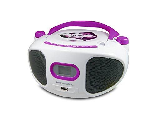 Metronic 477122 Radio / Lecteur CD / MP3 Portable pour Enfant Miss Angel avec Port USB - Blanc/Violet