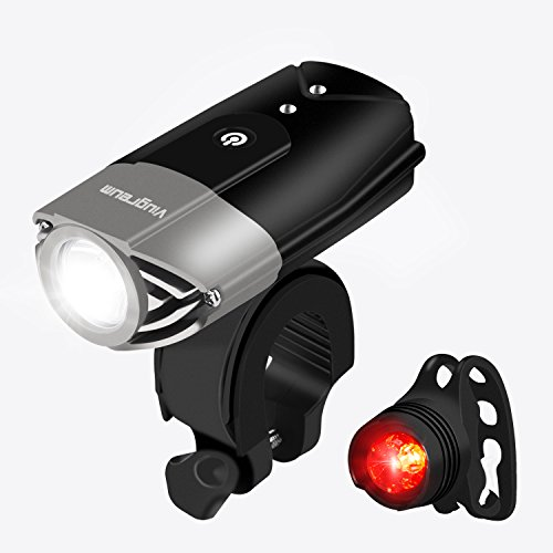 USB Wiederaufladbare Fahrradlicht Fahrradbeleuchtung mit Frontlicht und Rücklicht LED Fahrradbeleuchtung Fahrradlampe Frontlichter und Rücklicht, Halterung, Zoombarer Effekt