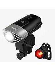Viugreum Luces de Bicicleta LED Potente 3 Modos,Linterna para Bicicleta Impermeable, Luz delantera ,luz trasera,y Luz de Emergencia USB Recargable,800 Lumens