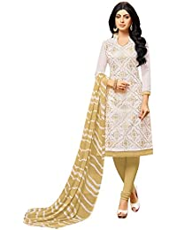 Rajnandini Women's Chanderi Cotton Embroidered Dress Material(JOPLGF18008_Off White_Free Size)