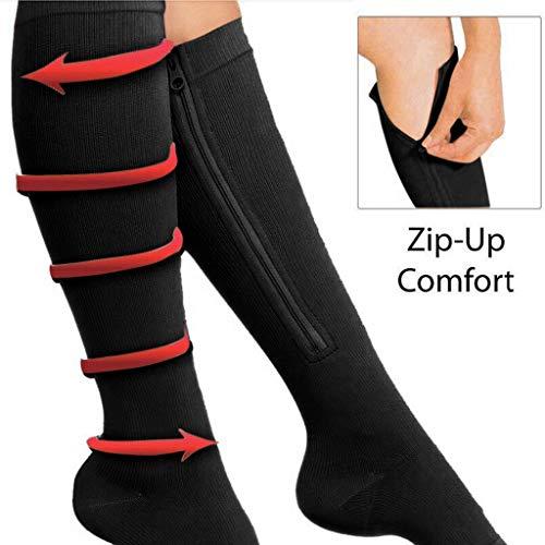 ZiYUEO Damen Socken 2PC Unisex Compression Socks Stretch Legs Unterstützung Open Toe Kniestrümpfe (S, Schwarz) Floral Open Toe