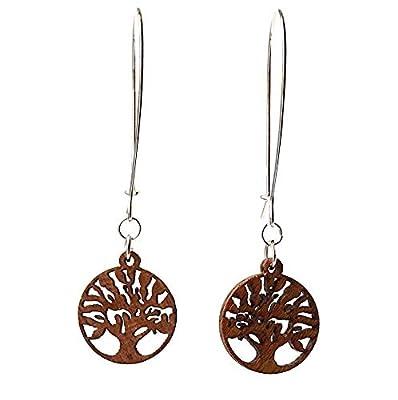 Boucles d'oreille extra longues en argent sterling 925 avec arbre de vie en bois