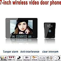 LLY 7-Pulgadas de Timbre de interfono de vídeo, 2.4 g Inteligente Sistema de Seguridad inalámbrica, función de visión Nocturna Foto automática, Impermeable Anti manipulación, Alarma automática