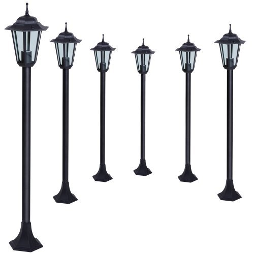 Jago 6x Garden Lamp Bollard Posts Black
