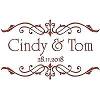 Autoaufkleber Hochzeit - Ornament & Namen + Datum