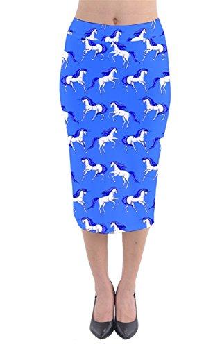 CowCow - Jupe - Femme rose corail bleu ciel