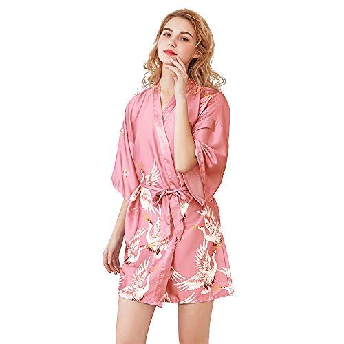 Mini Balabala Kimono Japonais en Satin Sexy Robe de Chambre 1/2 Manches Peignoir-Femme