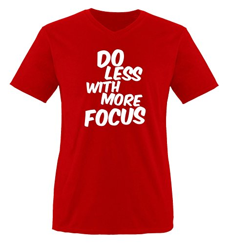 Comedy Shirts - DO Less with More Focus - Herren V-Neck T-Shirt - Rot/Weiss Gr. XL -