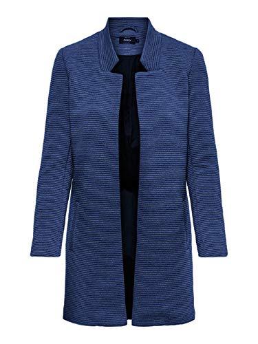 ONLY Damen onlLINK SOHO L/S Coatigan CC TLR Mantel,per Pack Blau (Black Iris Detail:Melange),36 (Herstellergröße:S)