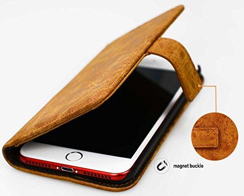 Iphone 7 Plus Coque, Iphone 7 Plus Case, Couleur Unie Fine Folio Wallet/Portefeuille en Haute Qualité Cuir Véritable Housse (5.5 Pouces) élégant Bookstyle de Gaufrage Fleur Motif + Stand Support + Int marron