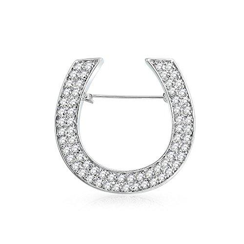Bling Jewelry Große Mode Reiter Zirkonia Pave CZ Schal Hufeisen Broschen & Anstecknadeln Für Damen Messing