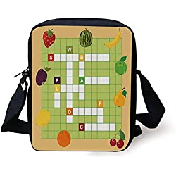 FFLISHD Word Search Puzzle,Vivid Graphic Summer Fruits with Educational Crossword Game for Kids Decorative,Multicolor Print Kids Crossbody Messenger Bag Purse