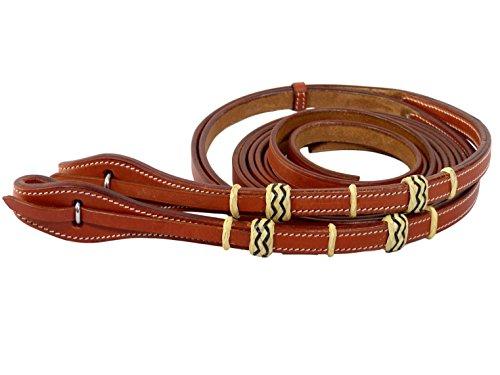 Thor Equine Western Zügel Westernzügel, Schnellverschluss, 220cm, genäht, Rohhaut, Chesnut
