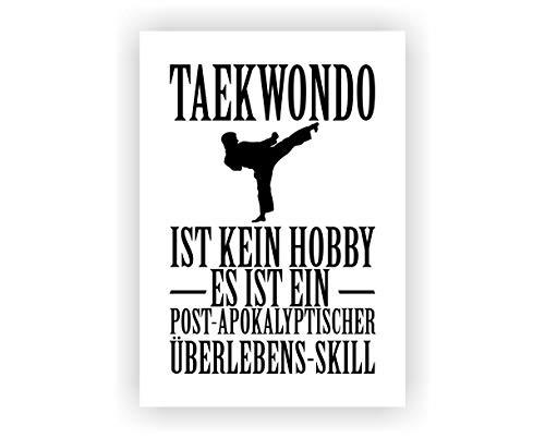 Samunshi® Taekwondo ist kein Hobby Poster Plakat Deko Jugendzimmer in 2 Größen (DIN A2 42x59,4cm weiß/schwarz)