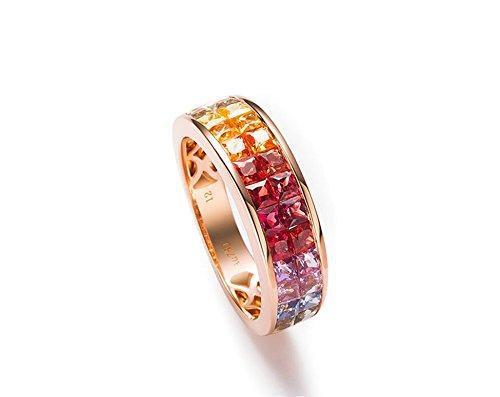 AMDXD Gold Ring 750 Echt 2.562ct 2 Reihe Ribin Saphir Regenbogen Edelstein Ehering Damen Größe 49 (15.6) -