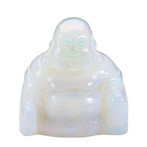 JOVIVI 2 Pouces Pierre Energie Precieuse Chakra Gravure Sculpture Bouddha Feng Shui Figurine Statue Tibetin Bouddhiste Maison Decoration Bibelot + Coffret Cadeau Opale Synthese