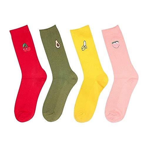 MZWZSCL Ladies 'Cotton Kreative Frucht Stickerei Socken Candy Farbe Schweiß Saugfähigen Rohr Socken (4Pcs Set), Färbung